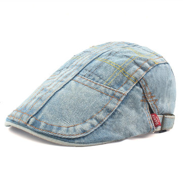 Unisex Mens Vintage Retro Denim Painter Beret Hat