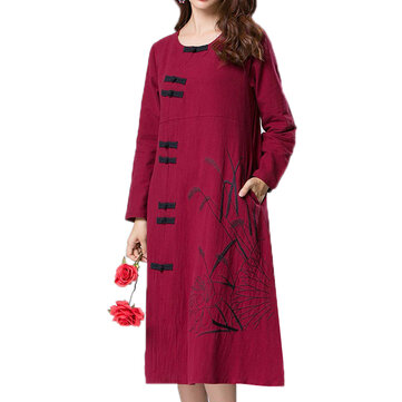 Folk Style Plate Buckle Loose O-neck Long Sleeve Women Dresses