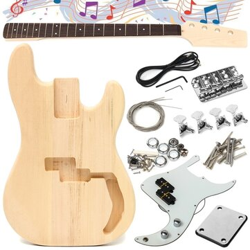 DIY Unfinished Electric Guitar Basswood Wood Body with Neck String