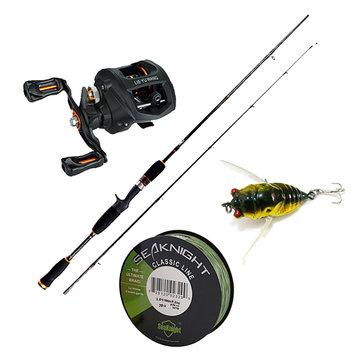 Traira Fishing Kits 1.65M Telescopic Rod Left Reel 500M PE Line 6g Cicada Bait Fishing Combo Set