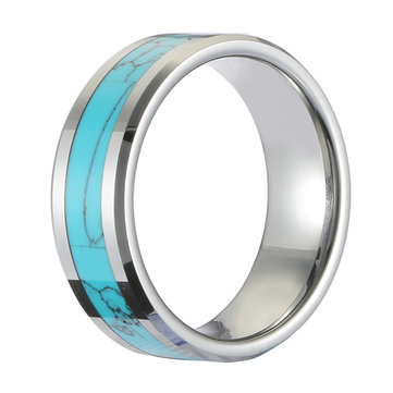 Classic 8mm Tungsten Carbide Ring Blue Turquoise High Hardness Engagement Rings for Men