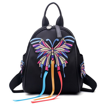 Women Oxford Embroidery Functional Shoulder Bag Backpack