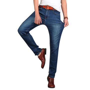 Mens Big Size Elastic Cotton Mid-rise Jeans Fashion Casual Straight Legs Denim Pants
