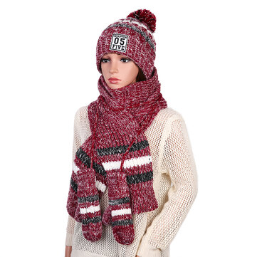 Women's Chic Full Handmade Knitting Three-piece Set Warm Thickened Christmas Knit Hat Scarf Gloves