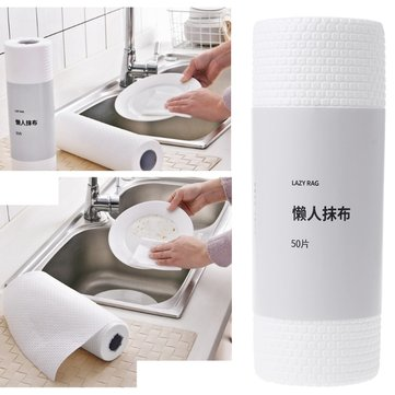 50pcs / Roll Kitchen Cleaning Cloths Disposable Wiping Pad Dishcloth Bathroom Wash Kitchen Cleaning Tools Environmental Protection