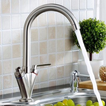 Modern Double Handle Kitchen Faucet Bathroom Sink Rotating Spout Mixer Tap