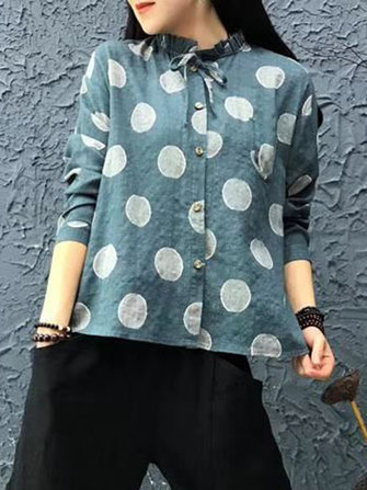 Plus Size Casual Women Dot Printed Shirts