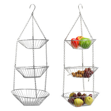 3-Tier Chrome Hanging Fruit Vegetable Organizer Baskets Holder Food Storage Caddy Stand