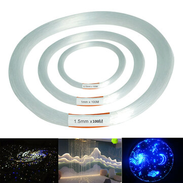 100m PMMA Clear Plastic Fiber Optic Cable End Grow Led Light Decor 0.75 / 1 / 1.5mm