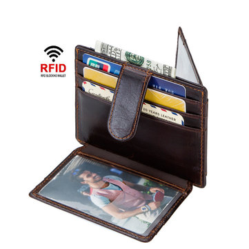 Men RFID Genuine Leather Vintage Money Clip Card Holder