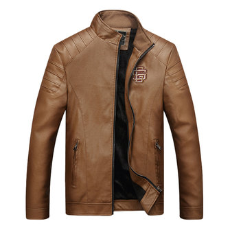 Mens Winter Warm Thick Logo Embroidery Casual Solid Color Faux Leather Jacket