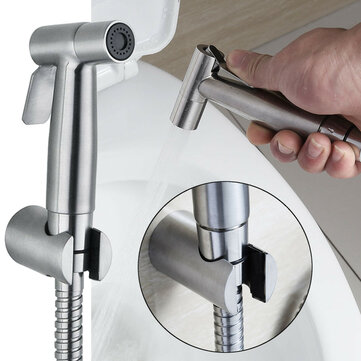 Brushed Stainless Toilet Handheld Bidet Spray Douche Shower Set Toilet Shattaf Sprayer Douche Kit Bidet Faucet