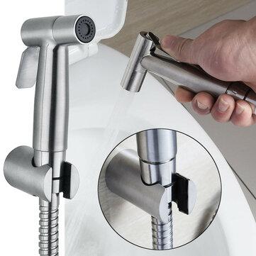 Brushed Stainless Toilet Handheld Bidet Spray  Douche Shower Set Toilet Shattaf Sprayer Douche Kit Bidet Faucet