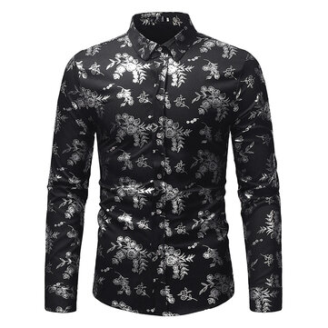 Ethnic Style Mens Hot Stamping Base Print Shirts Casual Stand Collar Long Sleeve Slim Fit Shirts