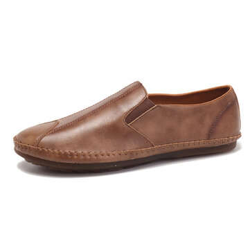 Men Comfy Soft Sole Leather Flats Loafers