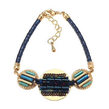 Bohemian Women Bracelet Gold Plated Coin Charm with Colorful Glass Bead Leather Bangle Chain