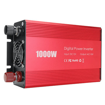 Power Inverter 1000W 12V DC to 110V AC Inverter Full-Bridge with 3 AC Outlets High Quality