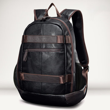 Men Faux Leather Outdoor Fashion Large Capacity Backpack