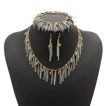 JASSY® Women Jewelry Set Bohemian Luxury 18K Gold Plated Crystal Tassel Necklace Bracelet Earrings