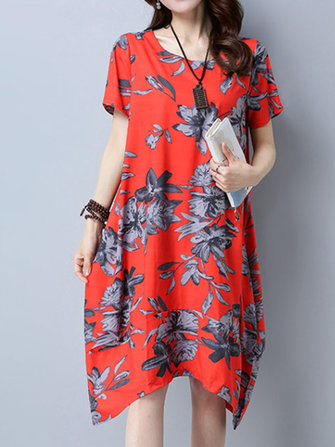 Elegant Floral Printed O-Neck Short Sleeve Irregular Hem Women Dress
