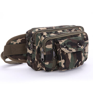 Men Canvas Khaki Black Coffee Casual Zipper Outdoor Crossbody Waist Bag