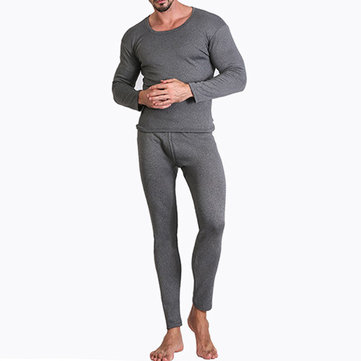 Men Velvet Thick Thermal Pajamas Set Autumn O-neck Sleepwear