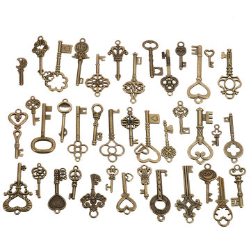 40Pcs Antique Vtg Old Look Ornate Skeleton Keys Lot Pendant Fancy Heart