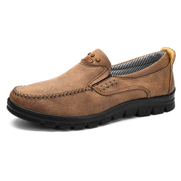 Men Comfy Microfiber Leather Soft Slip On Oxfords