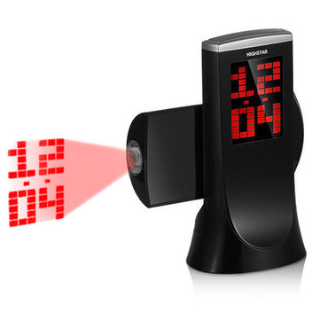 HighStar Projection Clock 180 Degree Rotation Snooze Digital Electronic Table Desk Watch Countdown Alarm Clock with Time Projection
