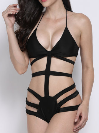 Sexy Halterneck Cut Out Bandage One Piece Monokini