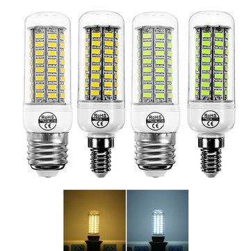 E14 E27 7W 72 SMD 5730 Warm White Pure White LED Corn Light Bulb for Home Decoration AC220V