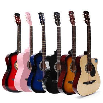 초보자를위한 38 인치 나무 민속 어쿠스틱 기타 6 색 기타