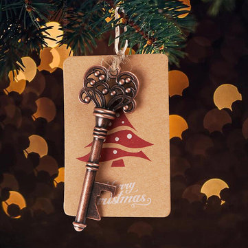 10Pcs Xmas Tree Ornaments Santa Magic Key Blank Tag Christmas Party Hanging Decorations