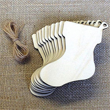 10Pcs Blank Christmas Stocking Wood Chip Sheet Hanging Tags Cutout Laser Engraving Wooden DIY