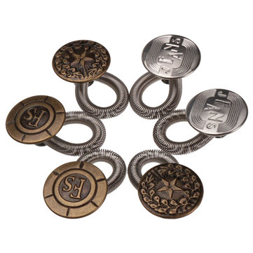 6pcs/set Men/Women Jeans Pants Metal Snap Fastener Press Stud Buttons Fix Expanders Waist Stretch Extender Button Lock Brass Metal No Sew Elastic Jeans Collar Button Pant Extender Replacement Button