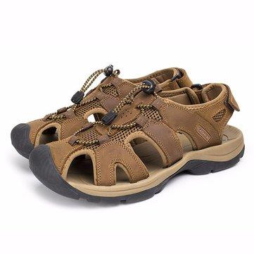 Мы размер 6.5-10.5 мужские летние пляжные сандалии волшебная палочка регулируемый кожаные ботинки