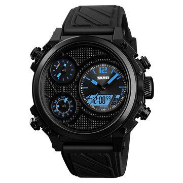 SKMEI 1359 3 diales doble Pantalla reloj cronógrafo alarma luminosa Pantalla calendario reloj digital