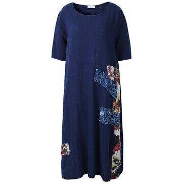 Mulheres casual verão impressão retalhos festa vestido floral