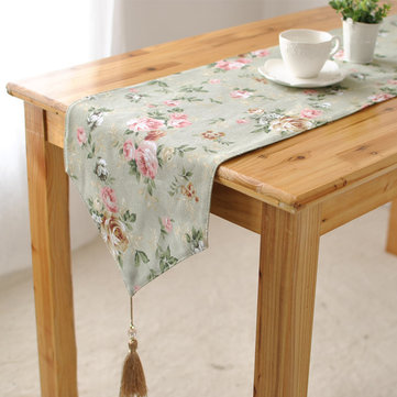 Elegant Rose Cotton Linen Table Runner Desk Cover Heat Insulation Bowl Pad Tableware Mat