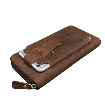 Men Multi-fuction Vintage Genuine Leather Wallet Phone Case High Capacity Card Holder Coin Purse