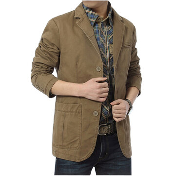Mens Cotton Outdoor Big Pocket Jacket Autumn Casual Suit Col