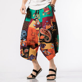Men's Casual Ethnic Style Printed Cotton Harem Pants Sumemr Breathable Loose Wide Leg Trousers