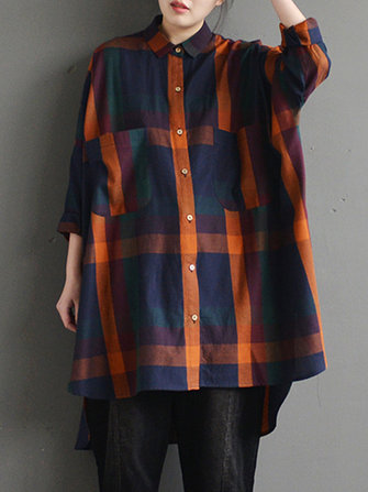 M-5Women Plaid Lapel Buttons Tops Asymmetric Hem Blouse