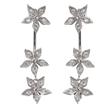 925 Sterling Silver Flower Earrings Dazzling Zirconia