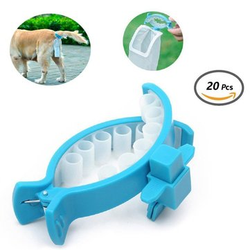 Dog Poop Soft Silicone Tail Holder Hands Free Pet Faeces Container with 20 Pieces Bags Size M/ L