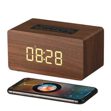 2 In 1 Alarm Clock Wooden Wireless Bluetooth Speaker LED Stereo TF Card Handsfree Speakers With Mic