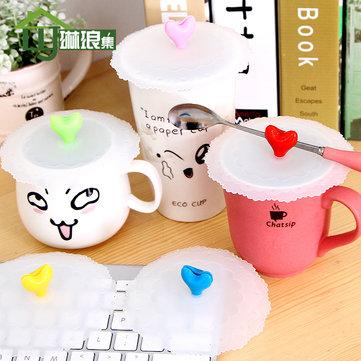 Love Shape Silicone Coffee Mug Cup Lid Seal Ring Dustproof Leakproof Mug Cover