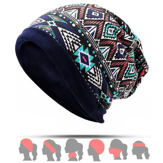 Men Women Plus Velvet Double Layers Multifunctional Beanie Caps Collar Vogue Printting Brimless Hat