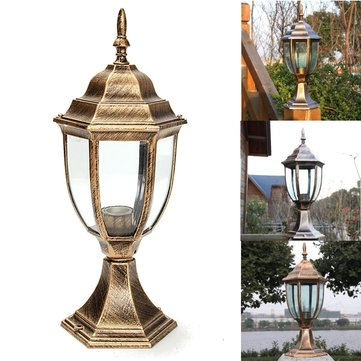 220V E27 Outdoor Antique Brass Post Path Garden Lantern Vintage Wall Light
