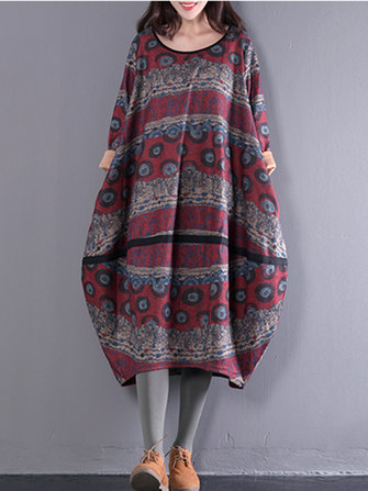 Vintage Printed Casual Loose O-neck Mid-long Women Dress